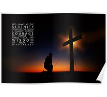 Prayer at Sunset Silhouette - Serenity Prayer Poster