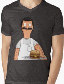 Bob Belcher Burger Pattern Blue Mens V-Neck T-Shirt
