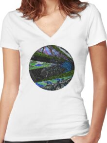 Outer Space Galaxy Women's Fitted V-Neck T-Shirt