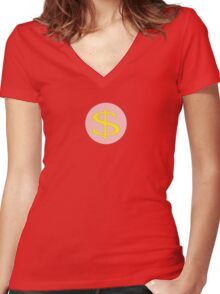 Dollar Sign Dress Women's Fitted V-Neck T-Shirt