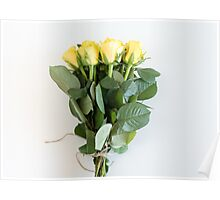 Yellow roses tied with string Poster