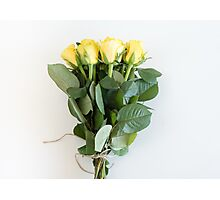 Yellow roses tied with string Photographic Print