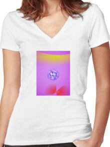 Purple Red Yellow Blue Women's Fitted V-Neck T-Shirt