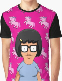 Tina Belcher Unicorn Pattern Hot Pink Graphic T-Shirt