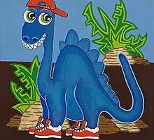 Blue Dinosaur by Lisa Frances Judd~QuirkyHappyArt
