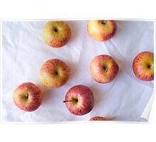 Red apples on white tablecloth Poster