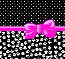 Ribbon, Bow, Dog Paws, Polka Dots - White Black Pink by sitnica
