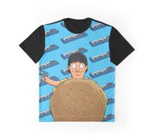 Gene Belcher Keyboard Pattern Blue Graphic T-Shirt