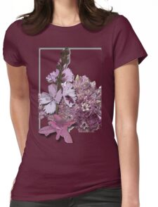 Bee on pink flowers Womens Fitted T-Shirt