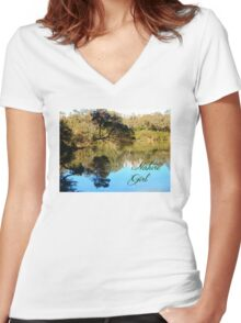 Nature Girl - Lake Women's Fitted V-Neck T-Shirt