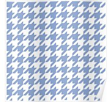 Serenity blue houndstooth pattern print Poster