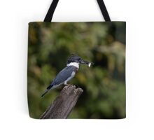 Belted Kingfisher with fish Tote Bag