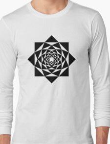 Black and white geometric flower mandala Long Sleeve T-Shirt