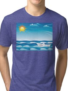 Paper Boat in the Sea Tri-blend T-Shirt
