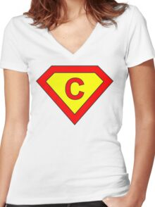 Superman alphabet letter Women's Fitted V-Neck T-Shirt