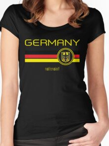 Euro 2016 Football - Germany (Away Black) Women's Fitted Scoop T-Shirt