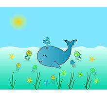 Happy baby whale Photographic Print