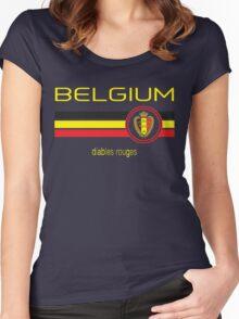 Euro 2016 Football - Belgium (Away Black) Women's Fitted Scoop T-Shirt