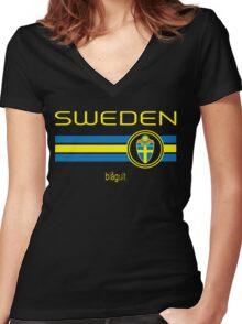 Euro 2016 Football - Sweden (Away Black) Women's Fitted V-Neck T-Shirt