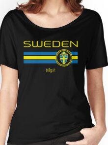 Euro 2016 Football - Sweden (Away Black) Women's Relaxed Fit T-Shirt