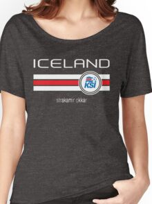 Euro 2016 Football - Iceland (Home Blue) Women's Relaxed Fit T-Shirt