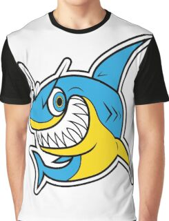 Smiling Blue Shark Cartoon Graphic T-Shirt