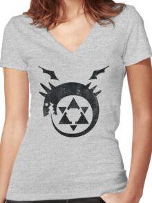 °MANGA° Ouroboros Full Metal Alchemist Logo Women's Fitted V-Neck T-Shirt