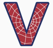 V letter in Spider-Man style by Stock Image Folio