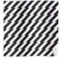 Black and white zigzag pattern print Poster