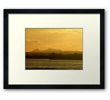 Twilight over Derryveagh mountains - with O'Doherty Castle from Inch Level Framed Print