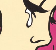 Pink Crying Comic Girl Sticker