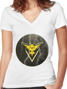 Pokemon Go - Team Instinct (lightning circle 1) Women's Fitted V-Neck T-Shirt