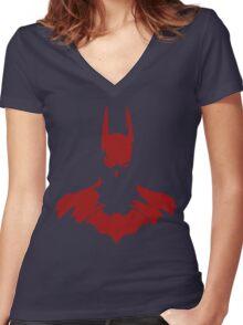 Red Batman Women's Fitted V-Neck T-Shirt