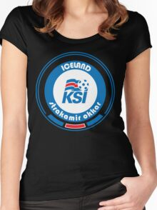 Euro 2016 Football - Team Iceland Women's Fitted Scoop T-Shirt