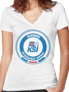 Euro 2016 Football - Team Iceland Women's Fitted V-Neck T-Shirt