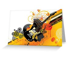 Background with a guitar Greeting Card