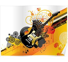 Background with a guitar Poster