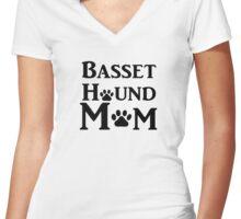 Basset Hound Mom Women's Fitted V-Neck T-Shirt
