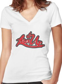 machine gun kelly - lace up Women's Fitted V-Neck T-Shirt
