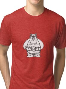 Wikinger, viking, olaf, bart, beard, danger, bellt, gürtel, cap, hat, grim, grimly, big,  fat, strong, helm, helmet, nordisch, north, horn Tri-blend T-Shirt