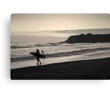 Twilight Surfers Toned Canvas Print
