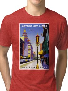 """UNITED AIR LINES"" Fly to San Francisco Advertising Print Tri-blend T-Shirt"