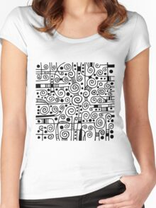 Abstract 040512 - Black on White Women's Fitted Scoop T-Shirt
