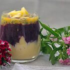 Mango and Blueberry layered Smoothie by Astrid Ewing Photography