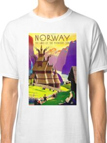 """NORWAY"" Land of Midnight Sun Advertising Print Classic T-Shirt"