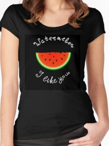 Red watermelon Women's Fitted Scoop T-Shirt