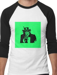 Black Silhouette Uncle Sam I Want You on Neon Green Men's Baseball ¾ T-Shirt