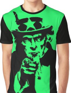 Black Silhouette Uncle Sam I Want You on Neon Green Graphic T-Shirt