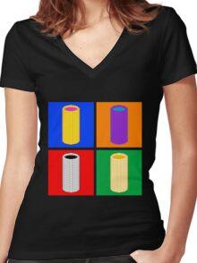 Pop Corn Art Women's Fitted V-Neck T-Shirt