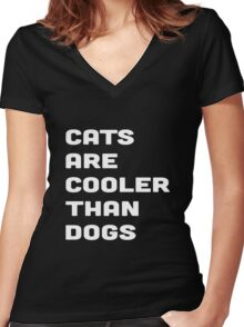 CATS ARE COOLER THAN DOGS Women's Fitted V-Neck T-Shirt